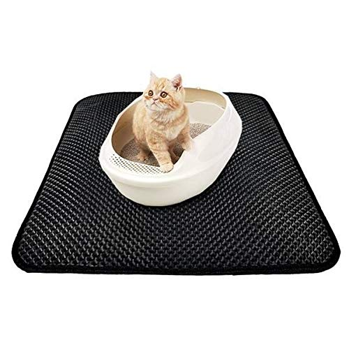 45cmX60cm GXSQLW Cat Litter Mat,EVA Double Layer Cat Litter Trapper Mats, Honeycomb Double-Layer Design with Waterproof Urine Proof Material,Easy to Clean and Floor Predection (45cmX60cm)