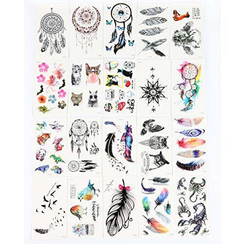 Waterproof Temporary Tattoos Flash Tattoo Stickers 3D Dream Catcher tattoos for Women and kids Transferable Child Fake Tattoo 20pcs/lot (Temporary Tattoos Elegant)