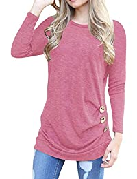 Womens Long Sleeve Casual Round Neck Loose Tunic Top Blouse T-Shirt