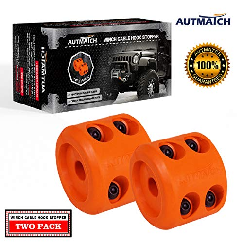 (AUTMATCH Winch Cable Hook Stopper (2 Pack) Rubber Shock Absorbent Winch Stopper Best Winch Accessories for Wire & Synthetic Cables ATV Accessories Prevent Pulling Eliminate Abrasion Bouncing Orange)