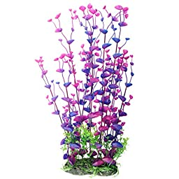 Pawliss Aquarium Decor Fish Tank Decoration Ornament Artificial Plastic Plant Purple Large 16inch
