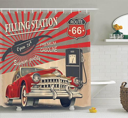 Commercial Curtain - Ambesonne Cars Shower Curtain, Poster Style Image Gasoline Station Commercial Kitschy Element Route 66 Print, Fabric Bathroom Decor Set with Hooks, Multi 13, 69
