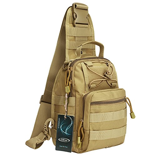 (G4Free Outdoor Tactical Backpack,Military Sport Pack Shoulder Backpack for Camping, Hiking, Trekking,Rover Sling Pack Chest Pack(Tan))
