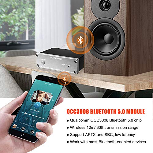 FX AUDIO Bluetooth 5.0 Receiver BL-MUSE-01 PRO with QCC3008 Support APTX SUB and ESS9023 DAC Wireless HiFi Bluetooth Audio Receiver for Home Audio System with DC 12V Power Supply (Silver)
