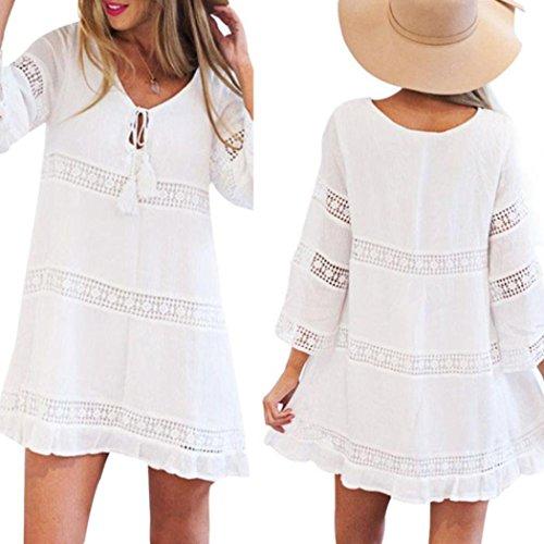 Silk Vest Print (Makaor Women Summer 3/4 Sleeve Hollow Loose Casual Lace Boho Beach Dress Short Mini Dress (White, Asian Size:2XL))