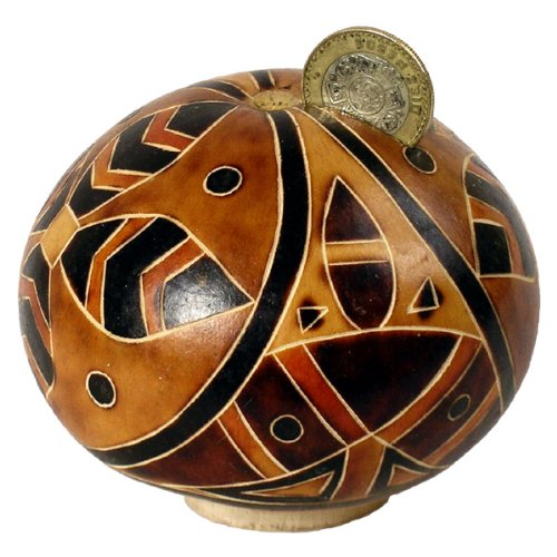 Hand Carved Gourd Piggy Bank Natural Assortment by Sanyork