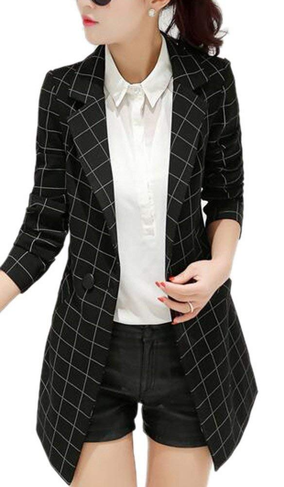 Womens Vintage Check Plaid Long Sleeve Casual Long Jacket Blazer, US 4,L, Black by BISUAL