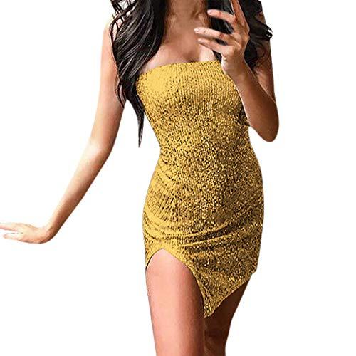 (iDWZA Valentine's Day Women Off The Shoulder Sequins Wrap Sleeveless Nightclub Mini)