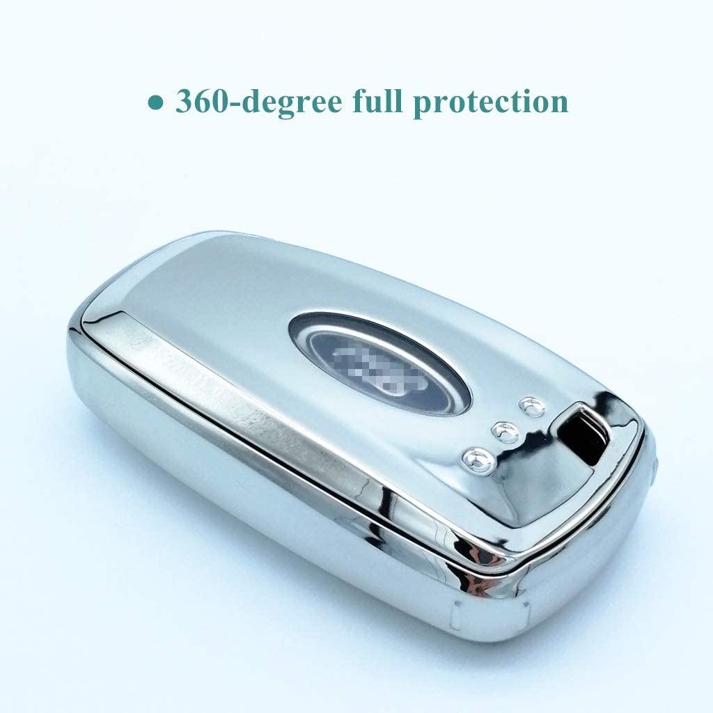 Blue Cajek for Ford Escape Key Fob Cover TPU Skin Case Protector with Keychain Compatible with 2020 2019 2018 Fusion Explorer Mustang Edge F150 F250 F350 F450 F550 Ranger 4//5 Buttons Smart Key