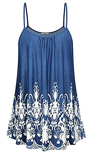 LANROON Women's Soft Loose Fit Spaghetti Strap Floral Printed Cami Tunic Tanks