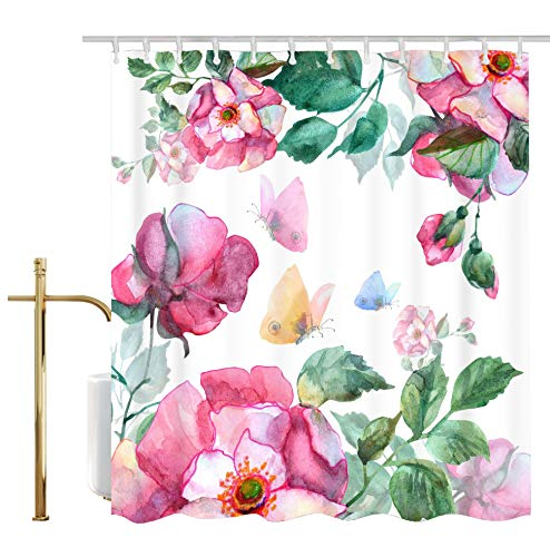 Ao blare Butterflies Shower Curtain,Hand Painted Watercolor Roses Butterflies Floral Polyester Fabric Waterproof Shower Curtain 72 x 72 ()
