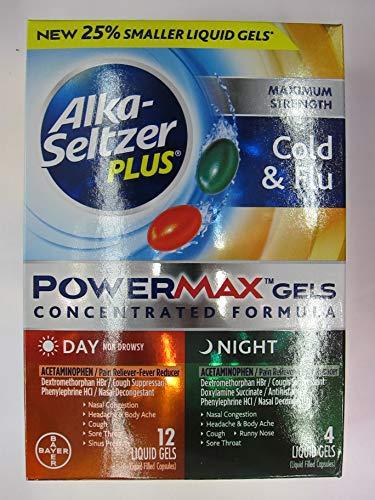 Alka Seltzer Plus Powermax Gels Day Night, 16 Count