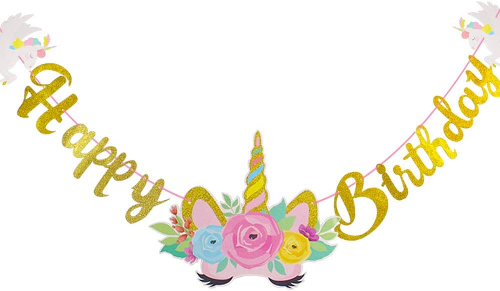 Unicorn Happy Birthday Banner Unicorn Party Supplies Decorations for Birthday Party Cute Fantasy Fairy Girls Party Home Decor