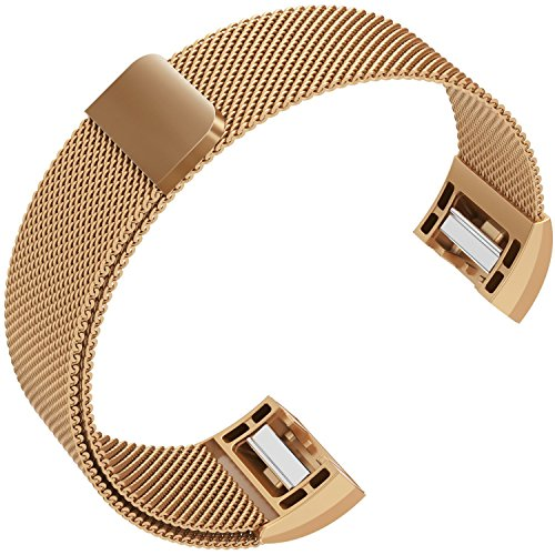 Fitbit Charge 2 Bands, Milanese Magnetic Wristbands Straps Mesh Metal Replacement Bracelet Charge 2 Band for Men/Women Small/Large Black Silver Gold