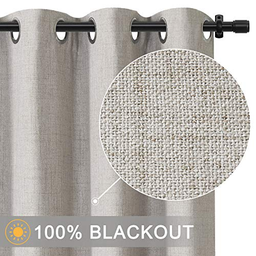 Primitive Linen Look,100% Blackout Curtains(with Liner) Blackout Curtains& Blackout Thermal Insulated Liner,Grommet Curtains for Living Room/Bedroom,Burlap Curtains-Set of 2 Panels (50x96 ()