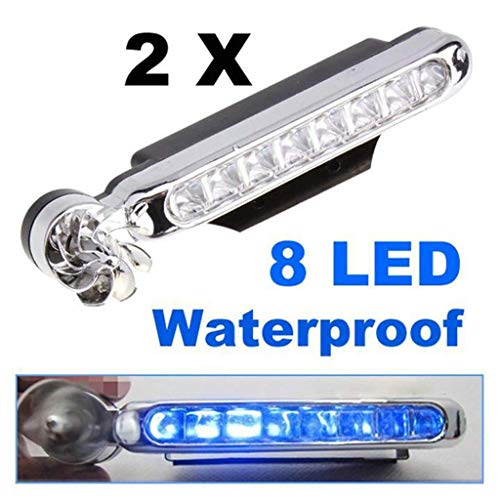- Matoen LED Wind Energy Powered Light Car Fog Daytime Running Auto Warning Head Lamp Waterproof 2 Pcs 8 LED (Blue)