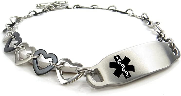 Pre-Engraved /& Customizable Diabetic Alert Medical Bracelet Black Symbol My Identity Doctor Oval Links