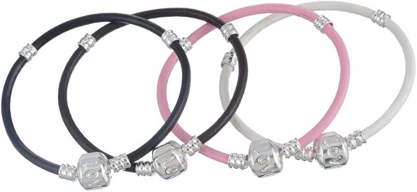 Souarts mezclado Color rosa blanco negro amor europeo ajuste cadena de serpiente pulseras Charm Beads Pack de 4 piezas 16 cm: Amazon.es: Joyería