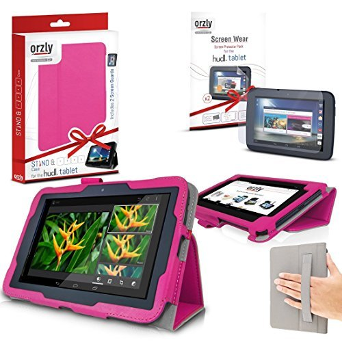 ORZLY® - TESCO HUDL 2 Tablet Case with Built-In Hand Strap & Integrated Stand - HOT PINK Case / Cover / Skin with Built-In PropUp Stand ( Dual Angle for Viewing & Typing Positions ) - designed by ORZLY® exclusively for Tesco Hudl 8.3 inch Tablet ( Tesco's 2nd Tablet - Released in 2014 ) Case includes BONUS: ORZLY Stylus Pen & 2x Sceen Protectors