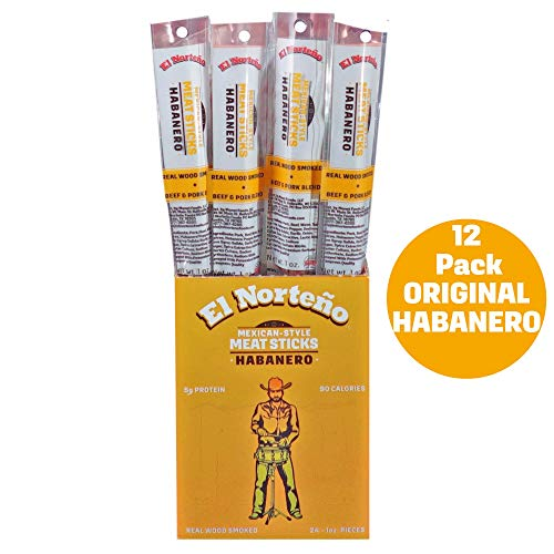 Habanero Meat Sticks - Low Carb, Low Sugar Beef Jerky Sticks by El Norteño - Smoked Pork & Beef Sticks Proudly Made in the USA (12 - 1oz Snack Sticks)