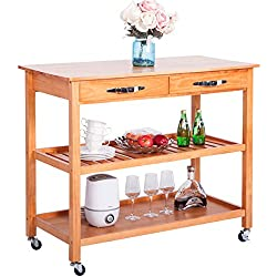 Harper&Bright Designs with Drawers & Shelves (Walnut) Kitchen Dining Trolley Cart