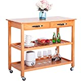 Harper&Bright Designs with Kitchen Dining Trolley Cart with Drawers & Shelves (Walnut) Review