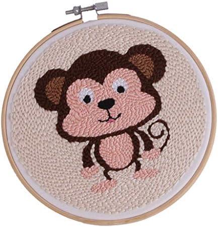 LoveinDIY DIY Punch Needle Embroidery Starter Kits Punch Needle Tool Threader Fabric Embroidery Hoop Yarn Rug Punch Needle Animal Owl