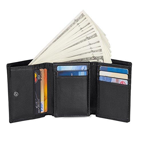 Leather Tri Fold Billfold (Mens Trifold Genuine Leather Wallet Vintage RFID Blocking Wallet Credit Cards Holder (black))
