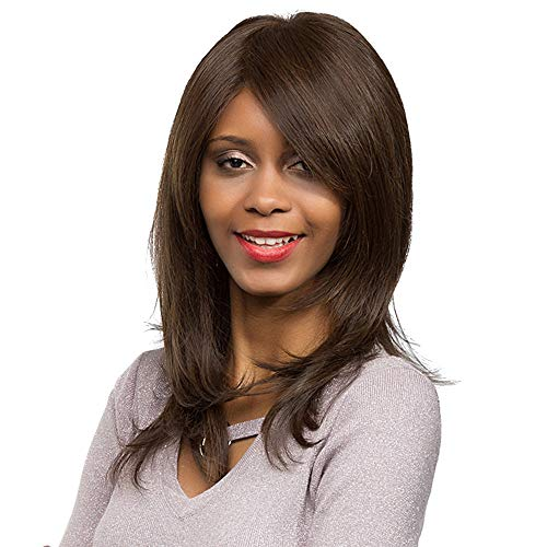 Inkach Womens Straight Long Wig | Ladies Synthetic Wig with Inclined Bangs - Costume Party Hair Wigs (Light Brown) for $<!--$6.89-->