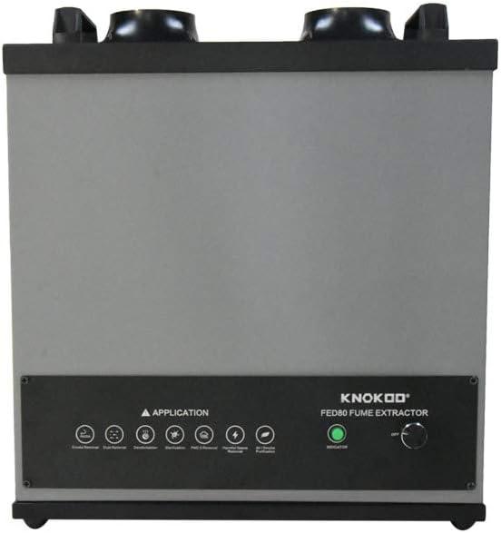 Knokoo 200W extractor de humos químicos, soldador láser de humo FED80 purificador de aire polvo máquina de eliminación de cigarrillos con doble canal, gris: Amazon.es: Bricolaje y herramientas