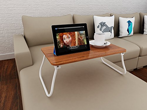 Homebi Lap Desk Tray Table Laptop Stand Portable Bed Desk Breakfast Tray for Bed Couch and Sofa with MDF Top Board and Foldable Metal Legs (11.20''H, Walnut) by HOME BI (Image #4)