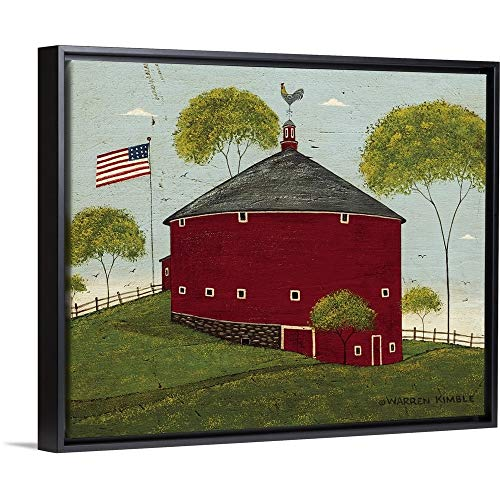 Round Barn Black Floating Frame Canvas Art, 32