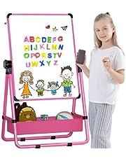 Kid's Art Easel Caballete de Doble Cara para niños Pizarra Blanca y Pizarra con Soporte Ajustable y Giro 360 Grados y Letras y números magnéticos de bonificación