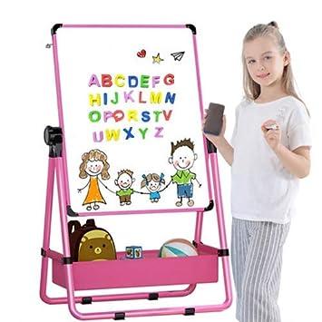 Pizarra madera, Pizarra Magnetica infantil, Caballete de doble cara para niños, Pizarra blanca y pizarra con soporte ajustable y giro 360 grados y ...