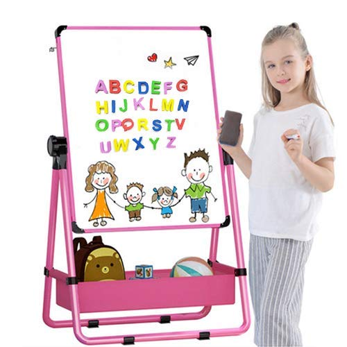 BeebeeRun Adjustable Double-Sided Kids' Art Easel Standing Easel, Chalk Board, Easel for Toddler with Bonus Magnetic Letters, Numbers and Accessories (Pink) ()