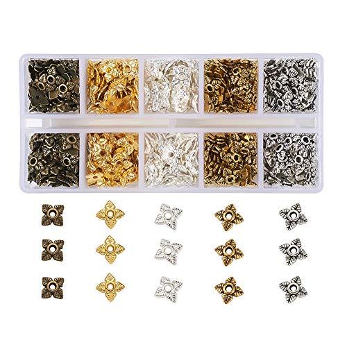 Pandahall 700pcs Tibetan Style Flower Bead Caps 5 Colors 4-Petal Flower Alloy End Cap for DIY Jewelry Making
