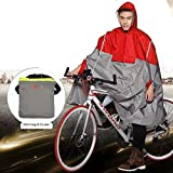 SudaTek New Lightweight Cycling Rain Poncho Bike Hooded Raincoat Rain Cape with Reflector Strips