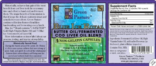 Cheap Green Pasture Blue Ice Royal Butter Oil / Fermented Cod Liver Oil Blend – 120 Capsules