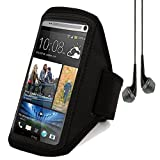 Active Sport Armband Pouch Case for HTC ONE MAX 5.9 inch / Nokia Lumia 1520 / Samsung Galaxy Mega 6.3 (Black) + Black VanGoddy Headset With MIC