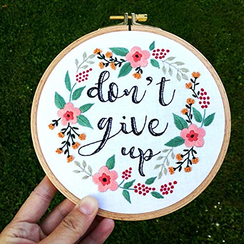 (Khalee Full Set of Hand-Made Embroidery Starter Kit, Cross Stitch Kits for Beginners Including Patterned Embroidery Cloth, Plastic Hoop,Color Floss,Tools Kit(Don't Give Up,6 Inches in Diameter))