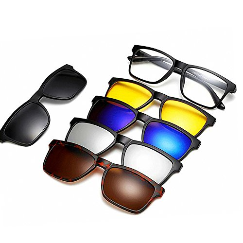 WELUK Magnetic 5Pcs Polarized Clip-on Sunglasses Plastic Frame for Night Driving (Yellow, - Sunglasses Magnetic