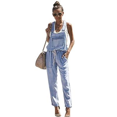 Fandecie Mujer Baggy Petos Vaqueros Cordón Overoles Pantalones de Jeans Pantalones Cortos Sueltos relajados con Tiras y Pantalones de Mezclilla: Ropa y accesorios