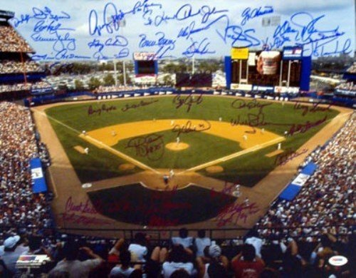 New York Mets Team Greats Signed 16 x 20 Photo With 42 Signatures Including Duke Snider and Gary Carter - PSA/DNA Authentication - Autographed MLB (Autographed Duke Snider Photo)