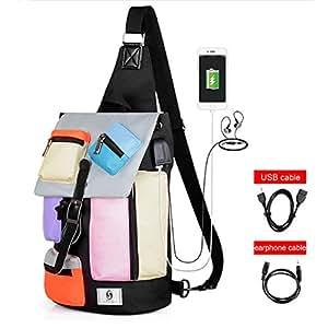 ENbeautter 2018 Impermeable Vistoso Bolsas Mensajeras y al Hombro para Tablet,con Puerto de Puerto y Auricular de Carga USB,Bolso de Tela Oxford para Hombres, Bolso Messenger