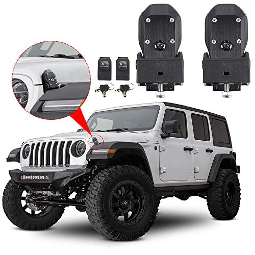 Hood Latches Hood Lock Catch Latches Kit Anti-Theft for Jeep Wrangler JL Sports, Sahara, Freedom & Rubicon 2018 2019 (Black)