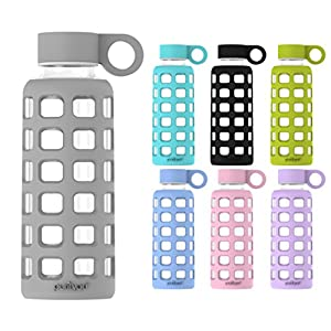 purifyou Premium Glass Water Bottle with Silicone Sleeve and Stainless Steel Lid, 12 / 22 / 32 oz (Pastel Gray, 22 oz)