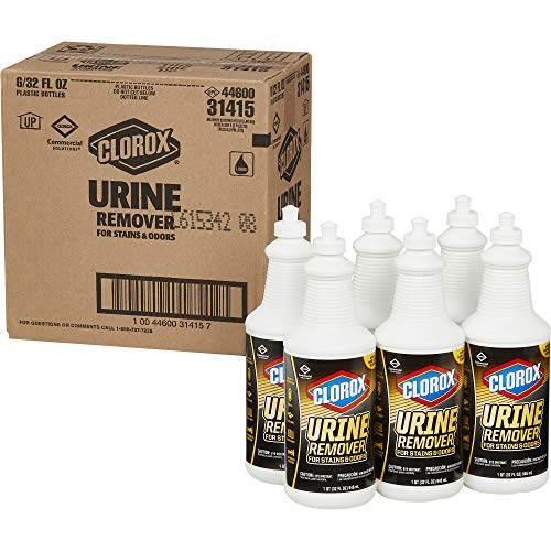Clorox Commercial Solutions Urine Remover for Stains and Odors - 32 Ounce Pull Top Bottle, 6 Bottles/Case (31415)
