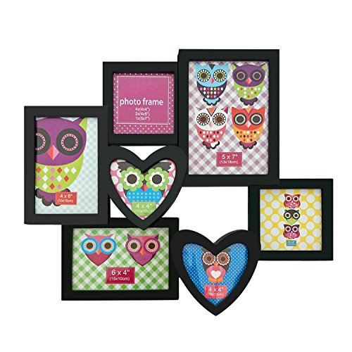 Adeco 7 Openings Decroative Black Collage Picture Frame - Made to Display Two 4x4 heart shape, Two 4x6, One 5x7 Photos