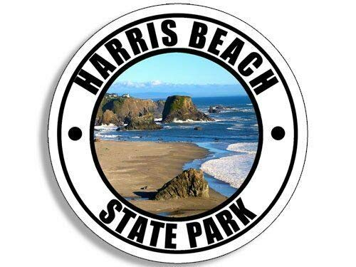 MAGNET 4x4 inch Round Harris Beach State Park Sticker (Oregon National Hike rv) Magnetic vinyl bumper sticker sticks to any metal fridge, car, signs