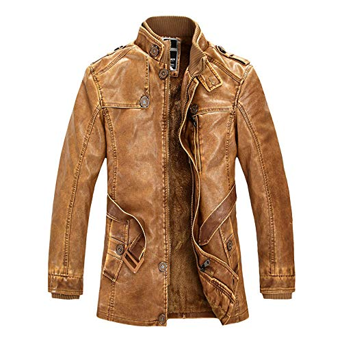 - Rambling New Men's Fashion Vintage Belted Fleece Lined PU Faux Leather Jacket Thick Coat